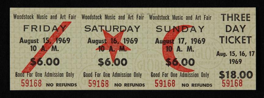 karta za Woodstock 1969 g